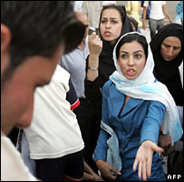Women protest against restrictions on their rights during the Iranian election