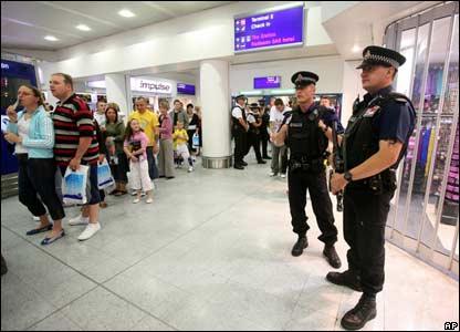 Police watching passengers at Heathrow