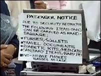 Notice at Birmingham International Airport