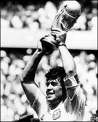 Maradona lifting World Cup in 1986
