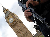 An armed police officer at Westminster on Thursday