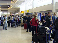 Queue at Belfast International Airport