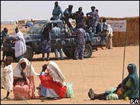 Refugees waiting to enter a water station at Abu Shouk camp near El Fasher Darfur