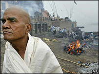 A father after cremating his son, a victim of the blasts, in Varanasi