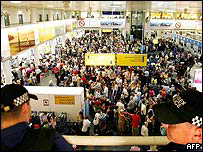 Police officers and crowds of passengers at Gatwick Airport