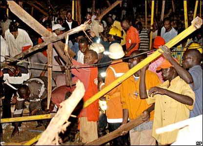 Rescue operations at Kalerwe Church, Kampala