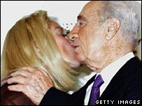 Sharon Stone and Shimon Peres