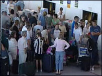 Passengers queuing at Newcastle Airport