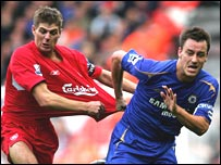 Steven Gerrard and John Terry in action
