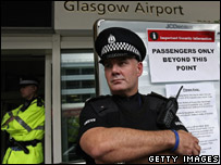 Policeman at Glasgow airport