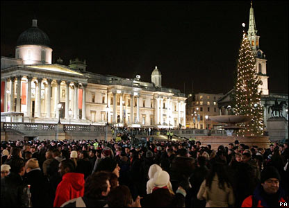 New Year revellers in Trafalgar Square
