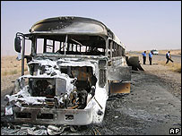 Bus destroyed by roadside bomb