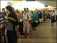 Queues at Southampton International Airport
