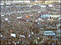 One of the Peace People's biggest rallies was in Trafalgar Square, London