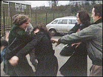 The women were attacked on the Falls Road in Belfast