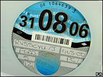 A road tax disc