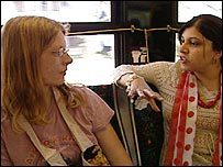 Sarah and Sayeeda on the bus