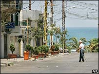 Man walks through the streets of Tyre