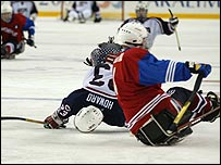 Sledge hockey in action at the last Paralympics in 2002
