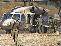 Israeli military helicopter at the Lebanese border in northern Israel