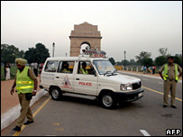 Police guarding India gate in Delhi