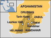 Map of four provincial capitals in Afghanistan