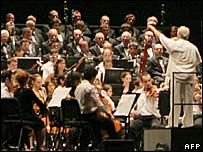 Daniel Barenboim and his orchestra at an earlier concert in Seville