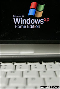 Windows XP on laptop, Getty