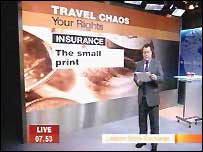 Declan explaining travel insurance