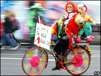 Clowns on a bike.  Image: AP