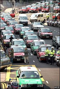 Taxi traffic jam in Hong Kong.  Image: AFP/Getty Images