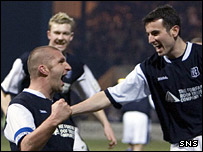 Bobby Mann celebrates Dundee's opening goal