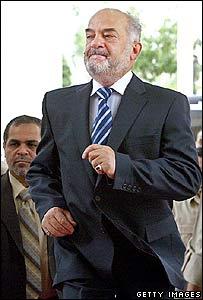 Ibrahim Jaafari arrives for work in Baghdad on Thursday