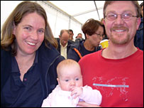 Marita Sydes and Patrick Driver with baby Tess