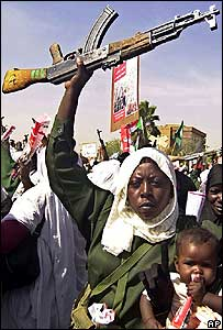 Pro-government demonstrators in Khartoum