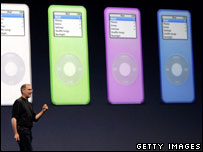 Apple boss Steve Jobs and iPod nano, Getty