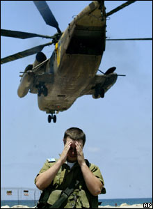 A helicopter transferring wounded Israeli soldiers takes off from the Rambam hospital in the city of Haifa on 11 August
