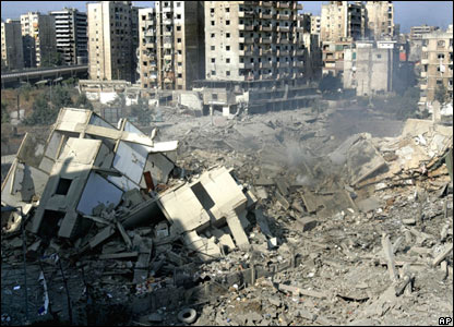 Bomb damage in southern Beirut on 11 August