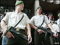 Turkish gendarmes outside court during trial of Alpaslan Aslan in Ankara, 11 Aug 06