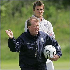 England coach Steve McClaren with David Beckham