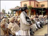 Tribal elders at a meeting in Miranshah