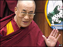 Tibetan spiritual leader the Dalai Lama leaves after attending a function commemorating the Tibetan Uprising Day at the Tsuglakhang temple in Dharamsala, India, Friday, March 10, 2006.
