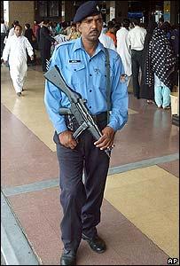 Pakistan Airport Security officer on guard at Jinnah International Airport in Karachi