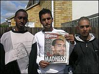 (l-r) Michael Edwards, Raheel Bashir and Jamal Hussain