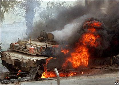 Burning US battle tank in Iraq