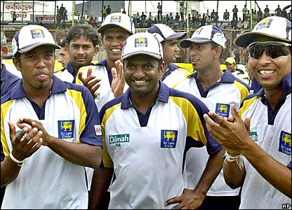 Sri Lanka celebrate a win against Bangladesh in Chittagong in Muralitharan's 100th Test