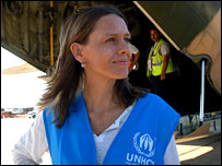 Astrid Van Genderen Stort by a Jordanian plane