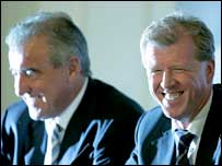 Terry Venables (left) with head coach Steve McClaren