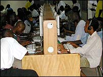 Cyber cafe in Africa