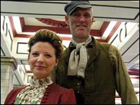 Edwardian costumed commuters
